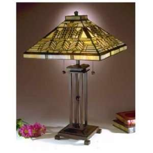 Dale Tiffany Oak Park Mission Tiffany Table Lamp with Antique Bronze