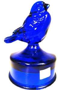 FENTON ART GLASS COBALT BLUE BIRD FIGURE ON FACTORY FONT