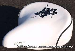 Cionlli Beach Cruiser Bicycle seat saddle   White/Black