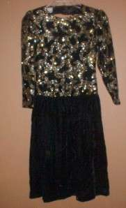 WOMENS RICKI LANG FOR NUIT BLACK & GOLD GLITTER FORMAL DRESS SZ 4