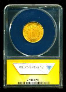 1877 FRENCH ANGEL GOLD COIN 20 FRANCS ANACS CERTIF GENUINE GRADED MS