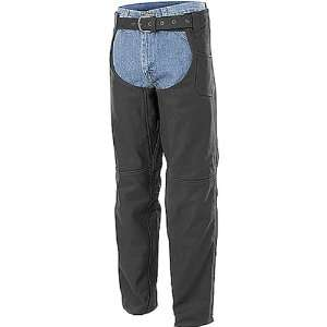 River Road Cinder Chaps Mens Leather Cruiser Motorcycle Pants   Matte