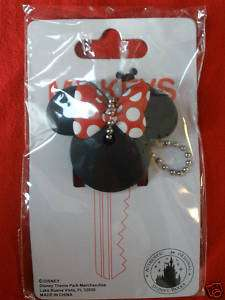 Disney MINNIE KEY COVER Chain Holder Red Bow Car Auto Ears NEW