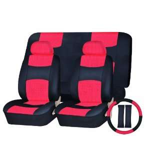 com Universal Car Seat Cover PU Leather Front & Rear & Steering Wheel