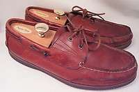 Florsheim Brick Red Brown Leather 11 W Boat Mens Casual Shoes