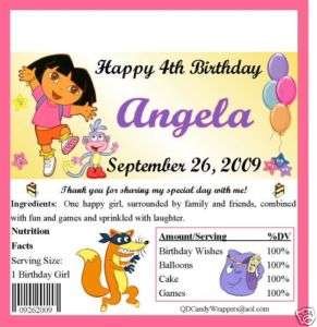 Dora Candy Wrappers/Birthday Party Favors