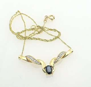 Estate Yellow Gold Sapphire LAVALIER NECKLACE