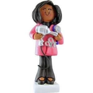 African American Female Hair Stylist Christmas Ornament