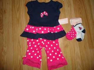 NWT NEW Gymboree Polka Dot Ladybug Top Pants Socks 4pc 0 3 3 6 6 12 12