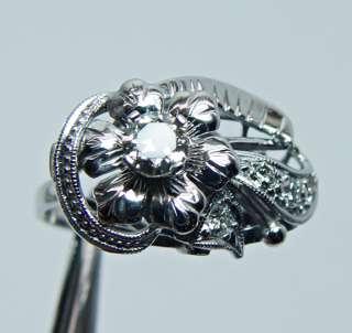 Antique European Diamond Flower Ring 14K White Gold Estate Jewelry