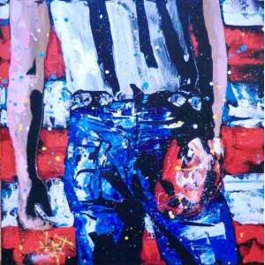 KAT BRUCE BORN IN THE USA ORIGINAL Acrylic Painting on Canvas, Hand