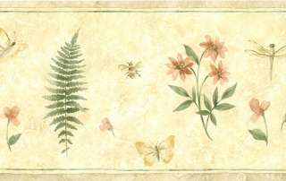 Dragonfly Bees Flower Floral Leaf Faux Yellow Cream Wall paper Border
