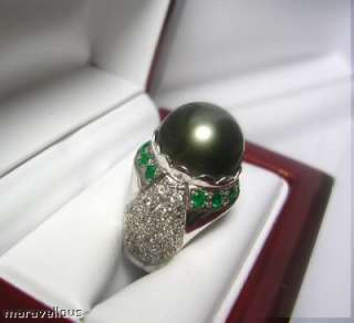 TAHITIAN BLACK PEARL DIAMOND & EMERALD RING 18K WHITE GOLD ~ GORGEOUS
