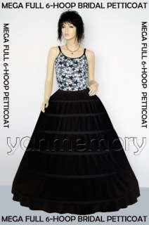 Black Mega Full 6 Bone Hoop Skirt Slip Crinlline Petticoat Wedding