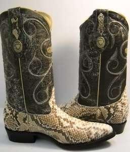 NEW white diamond PYTHON SNAKE SKIN cowboy boots size 7 botas de