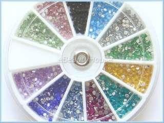 1800 Nail Art Glitter Tips Rhinestone Decoration+Wheel