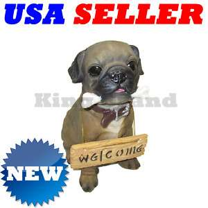 NEW Pug Puppy Dog w/Bone Statue Coin Money Bank