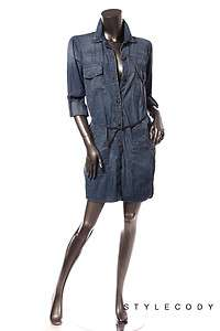 NWT $315 CURRENT ELLIOTT Womens Button Down Vintage Denim Shirt Dress
