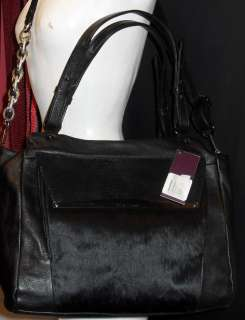 NEW W/TAGS ELLIOT LUCCA BLACK EXOTIC LEATHER HANDBAG TOTE PURSE W/PONY