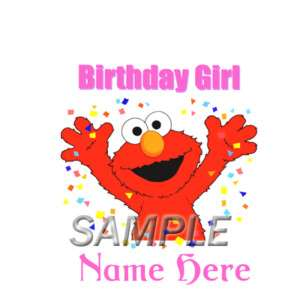 SESAME STREET ELMO BIRTHDAY GIRL IRON ON TRANSFER 3SIZE