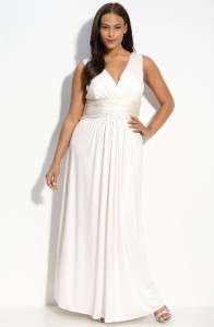 JS Boutique Jersey Grecian Ivory Wedding Dress Gown 14W (Plus)
