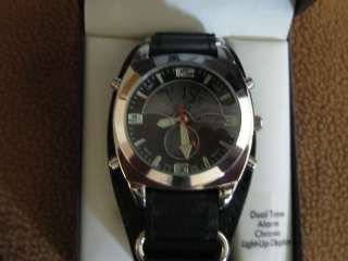 GREAT NORTHWEST BLACK LEATHER BAND MEN DUAL TIME WATCH