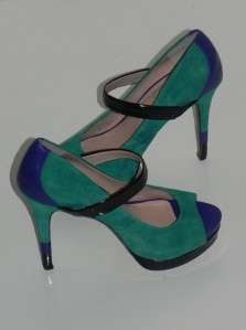 NEW JESSICA SIMPSON ELY TEAL/PURPLE/BLACK MARY JANE HEELS PUMPS 6.5