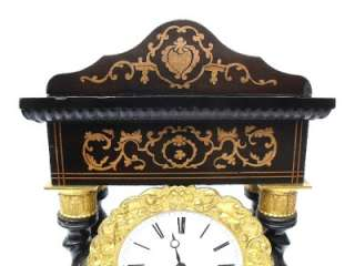 ANTIQUE C.1830 GOOD FRENCH INLAID PORTICO CLOCK