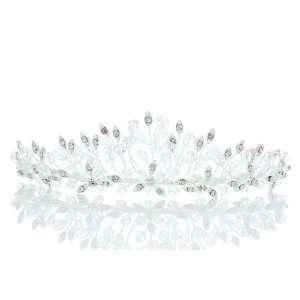 Wedding Rhinestone Crystal Beads Flower Leaf Prom Crown Tiara Beauty
