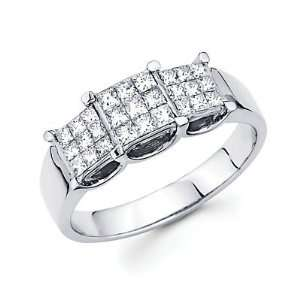 Size  6.5   14k White Gold Three 3 Princess Cut Diamond Ring .61ct (G