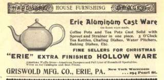 1896 ad b griswold mfg erie aluminum cast ware