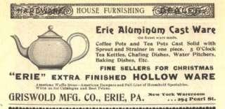 1896 ad b griswold mfg erie aluminum cast ware