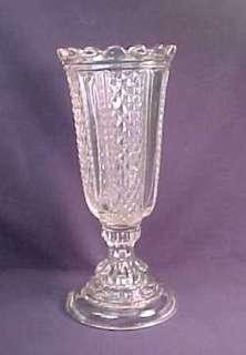 Flint Paneled Diamond Point Pattern Glass Celery Vase