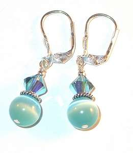 SWAROVSKI CRYSTAL ELEMENTS & CATSEYE Sterling Silver Earrings AQUA