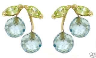 Natural Blue Topaz & Peridot Gemstones Studs 14K Solid Yellow Gold