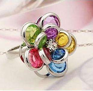 Flower Mixed Colors Round Crystal Rhinestone Plastic Rings