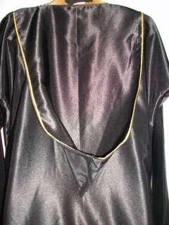 Satin Black Abaya with Hood and small white Rhinestones M