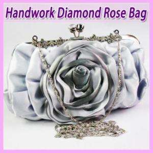 Big Rose Satin Evening Purse Handbag Slivery FZ108