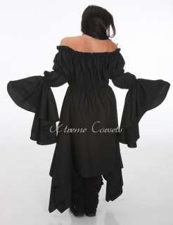 Goth Ling Line Civil War Black Chemise Long Sleeves Costume Dress