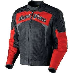 Scorpion Hat Trick Black/Red Mesh and Fabric Motorcycle Jacket   Size