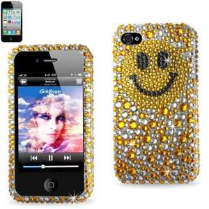 IPhone 4 4S Gold Smiley Face Bling Diamond Hard Case