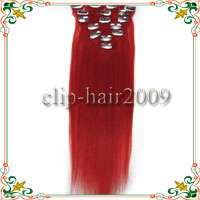 187 pcs Remy Clips on Human Hair Extensions #Red 70g