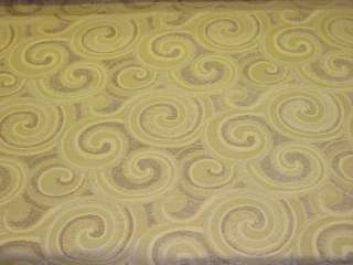Retro Modern Swirl Design Ivory Tan Upholstery Fabric bty