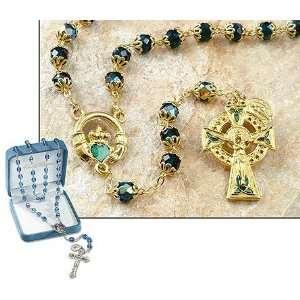 Catholic Irish Rosary 7 Mm Double Capped Emerald Green