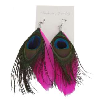 Fashion Jewelry Pink Pheasant + Peacock Feather Dangle Pierced