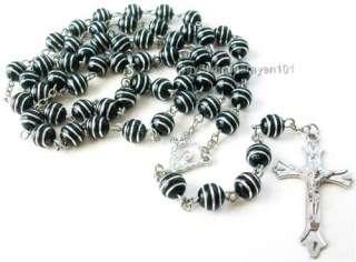 Mans Rosary Necklace Black Silver Stripe Beads Jesus Cross 30