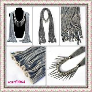 NEW fashion jewelry womens gray cotton scarves Wrap scarf pendant