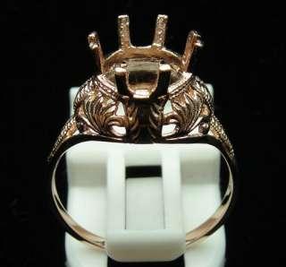 High Polish Finish 14k Rose Gold Round 8mm Semi Mount Engagement Ring