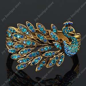 Blue peacock bird feather Swarovski crystal rhinestone gold bracelet