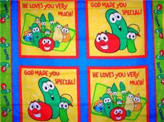 New Veggietales Panel Fabric BTY Pillow Wall Quilt